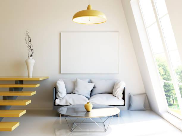 modernes interior 3d render mock-up - bild wandtreppe stock-fotos und bilder