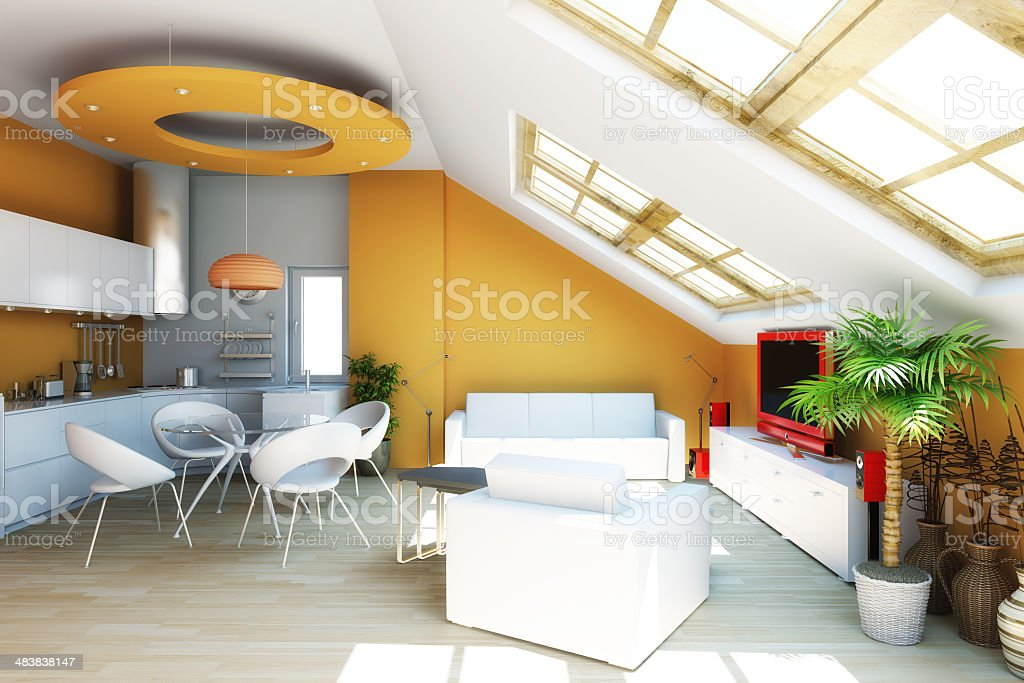 Modern interior 3d render royalty-free stock photo