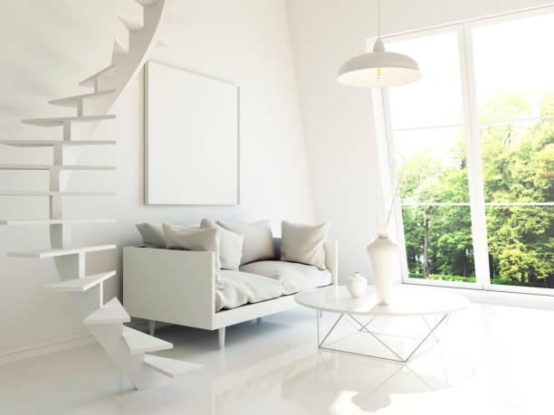 moderne interior 3d render - bild wandtreppe stock-fotos und bilder