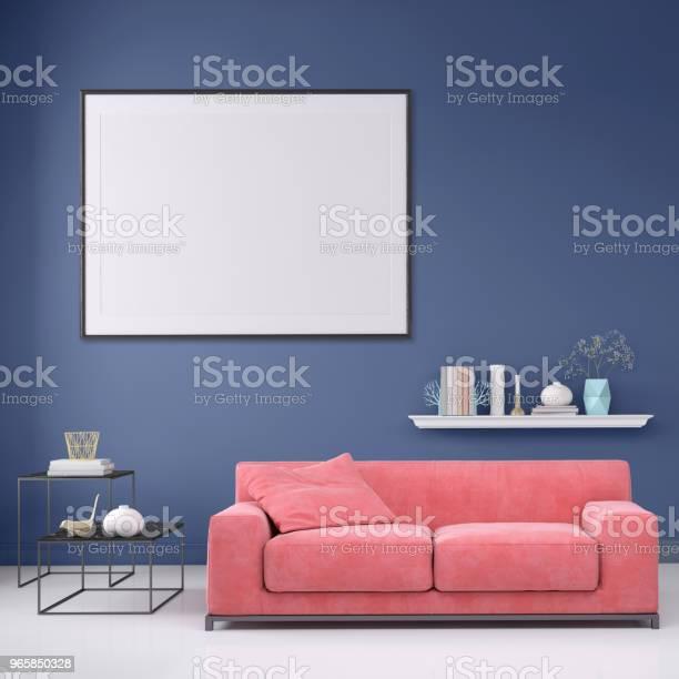 Modern Interior Apartment With Pastel Colored Sofa And Picture Frame Template - Fotografias de stock e mais imagens de Almofada - Roupa de Cama