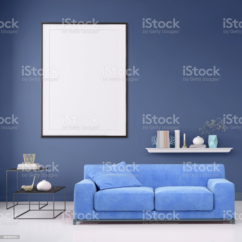 Modern interior apartment with pastel colored sofa and picture frame template - Royalty-free Apartment Stock Photo