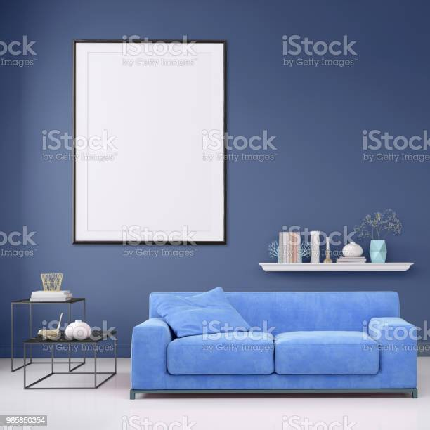 Modern Interior Apartment With Pastel Colored Sofa And Picture Frame Template Stock Photo - Download Image Now