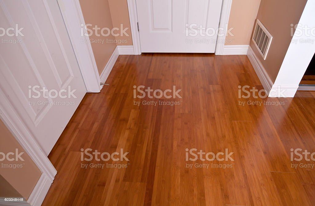 Modern interior bamboo hardwood flooring after renovation stock photo