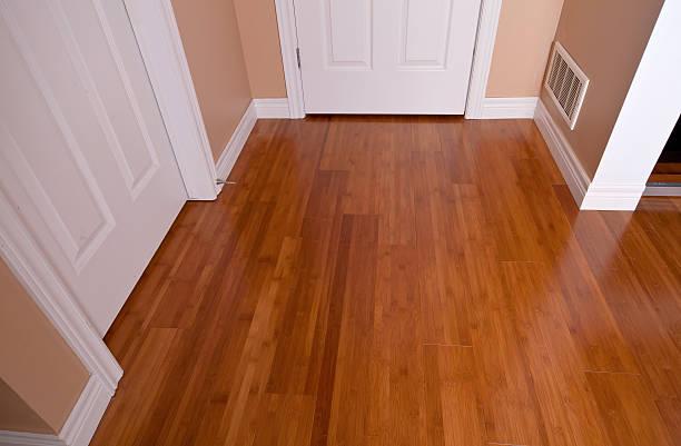 Modern interior bamboo hardwood flooring after renovation stock photo
