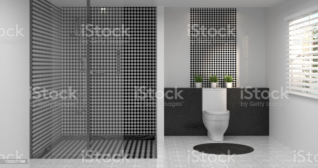 Diseño De Interiores Cuarto De Baño Aseo Ducha Render 3d Casa De ...