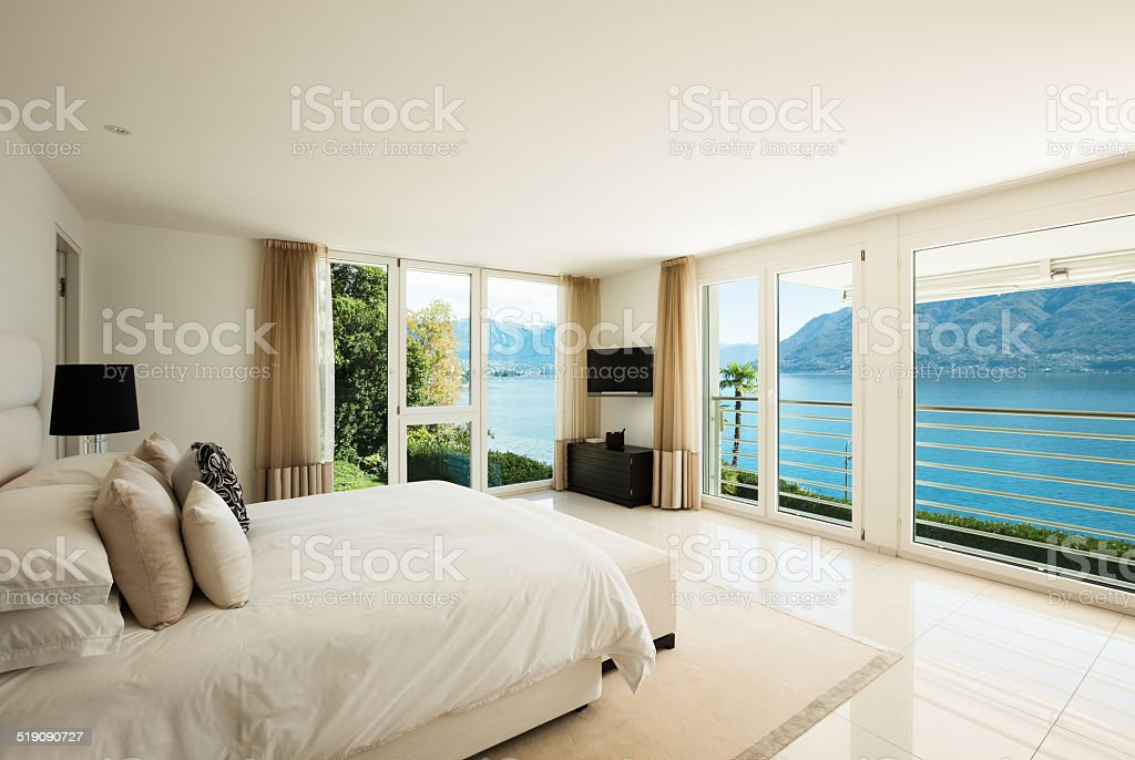 Modern interior design, bedroom stock photo