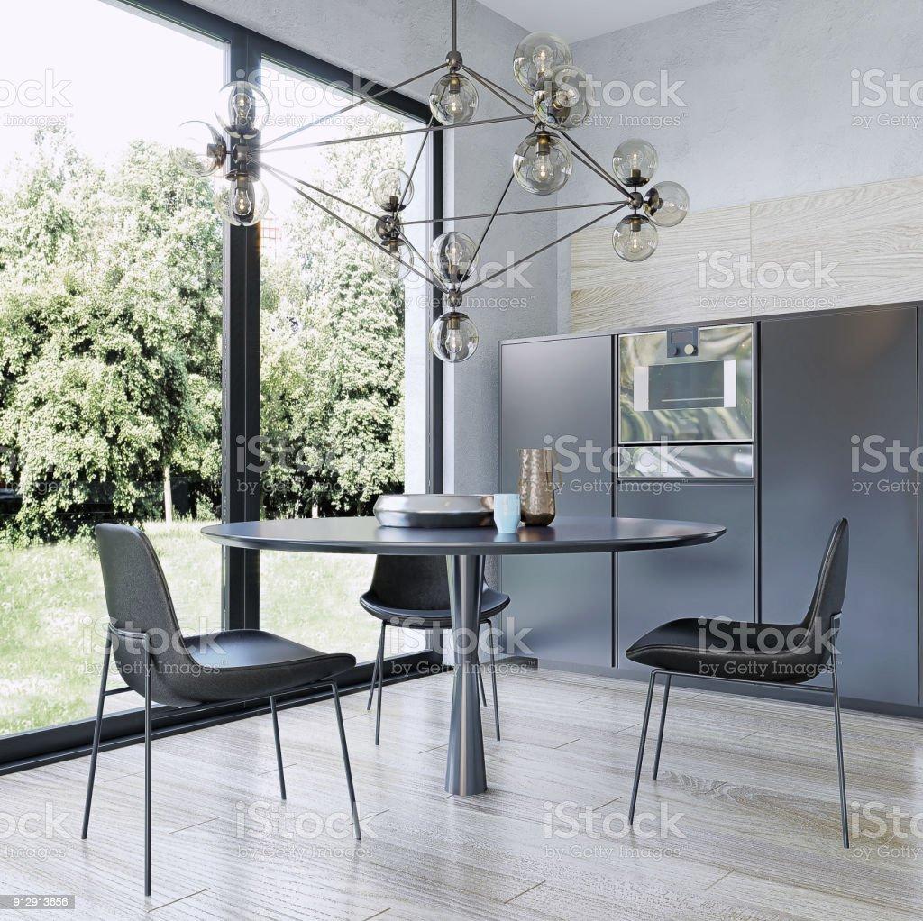 Modern interior design dining room stock photo