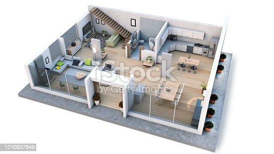 Modern interior design floor plan 3D render of a beautiful home