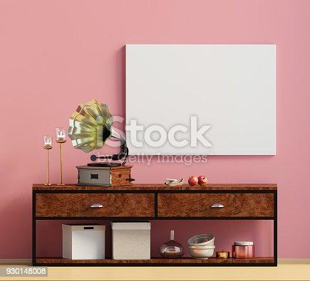 istock Modern interior design in Scandinavian style. Mock up poster. 3D illustration. 930148008