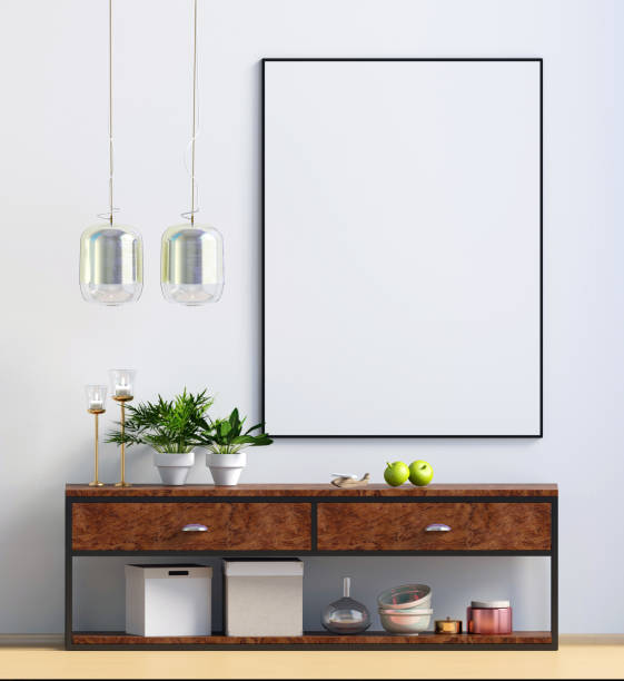 modernes design im skandinavischen stil. mock-up plakat. 3d illustration. - sideboard skandinavisch stock-fotos und bilder