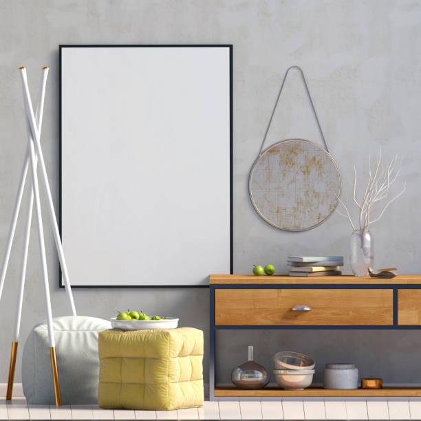 modernes design im skandinavischen stil. mock-up plakat. 3d illustration. - dielenkommoden stock-fotos und bilder