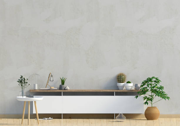 modernes design im skandinavischen stil. mock-up wand. 3d illustration. - dielenkommoden stock-fotos und bilder