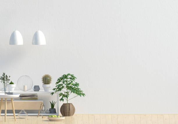 modernes design im skandinavischen stil. mock-up wand. 3d illustration. - sideboard skandinavisch stock-fotos und bilder