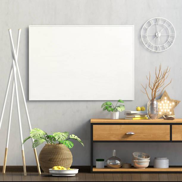 modernes design im skandinavischen stil mit anrichte. mock-up plakat. 3d illustration. - dielenkommoden stock-fotos und bilder