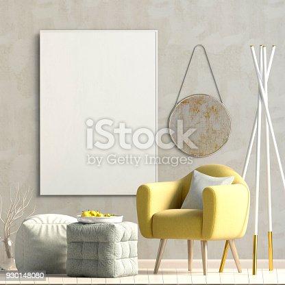 istock Modern interior design in Scandinavian style.Mock up poster. 3D illustration. 930148080