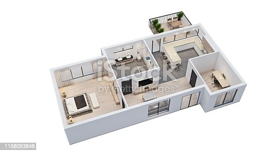 istock modern interior design, isolated floor plan with white walls, blueprint of apartment, house, furniture, isometric, perspective view, 3d rendering 1158053848