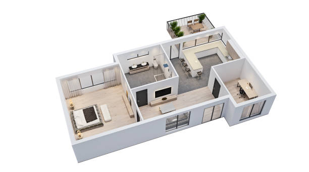 modern interior design, isolated floor plan with white walls, blueprint of apartment, house, furniture, isometric, perspective view, 3d rendering modern interior design, isolated floor plan with white walls, blueprint of apartment, house, furniture, isometric, perspective view, 3d rendering viewpoint stock pictures, royalty-free photos & images