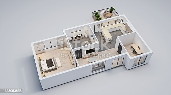 modern interior design, isolated floor plan with white walls, blueprint of apartment, house, furniture, isometric, perspective view, 3d rendering