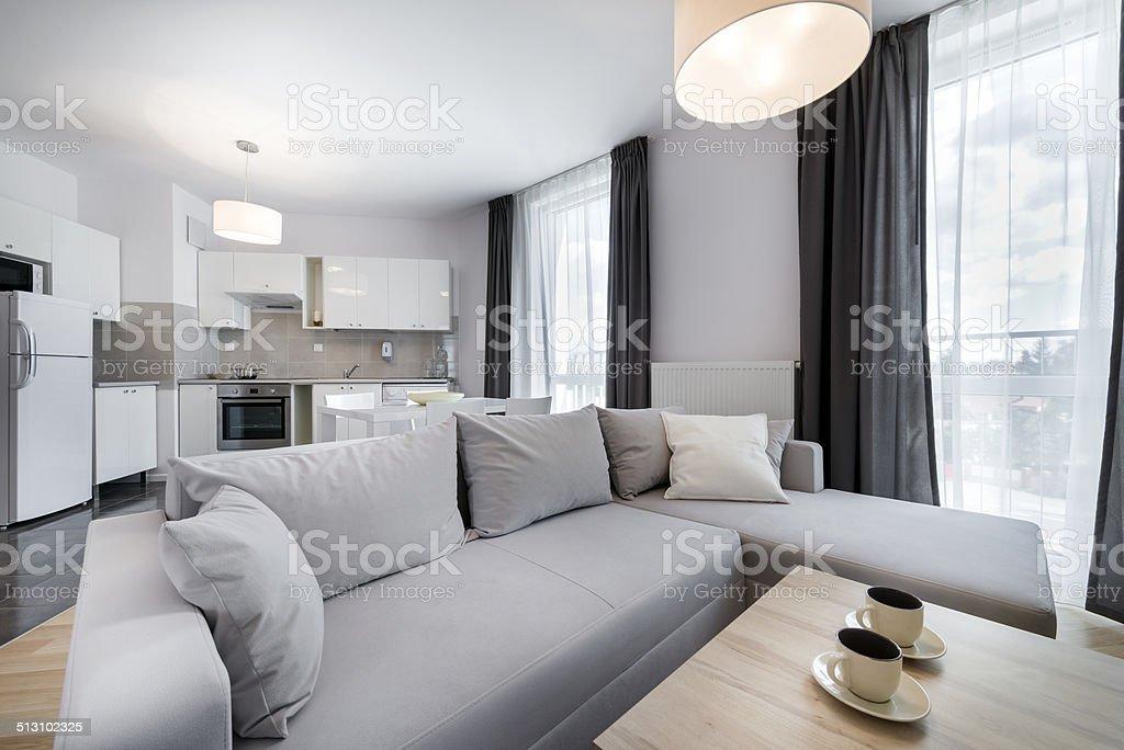 Moderne Innenarchitektur Wohnzimmer Im Skandinavischen Stil Lizenzfreies  Stock Foto