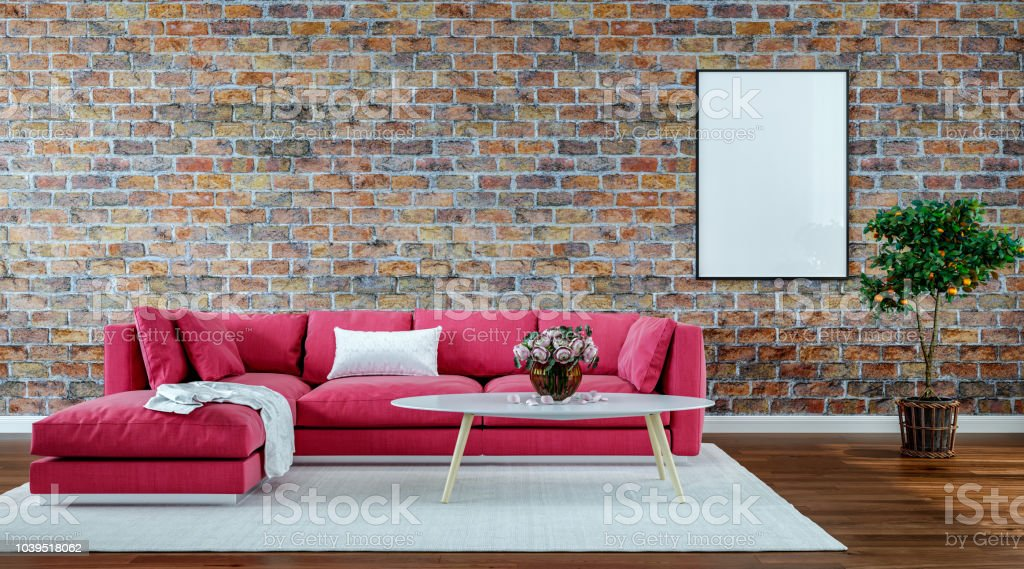 Modern Interior Design Living Room Old Brick Wall Retro Style Stock ...