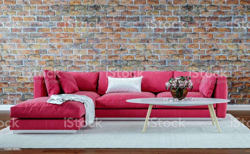 modern interior design living room, old brick wall, retro style