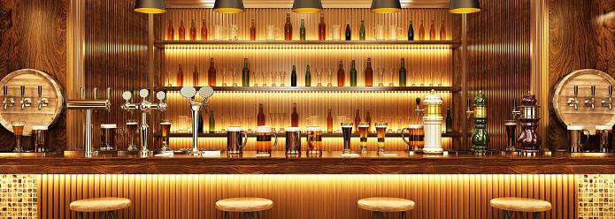 Modern Interior Design Of A European Pub Beer On The Bar - zdjęcia stockowe i więcej obrazów Alkohol - napój