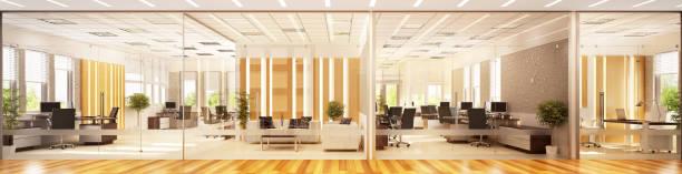 moderne inneneinrichtung großer büroräume - büro zukunft und niemand stock-fotos und bilder