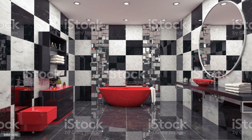 Modernes Design Der Badezimmer 3d Render Stock-Fotografie und mehr ...