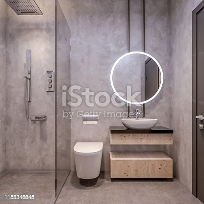 Modern interior design of bathroom vanity, all walls made of stone slabs with circle mirrors, minimalist and clean concept, 3d rendering