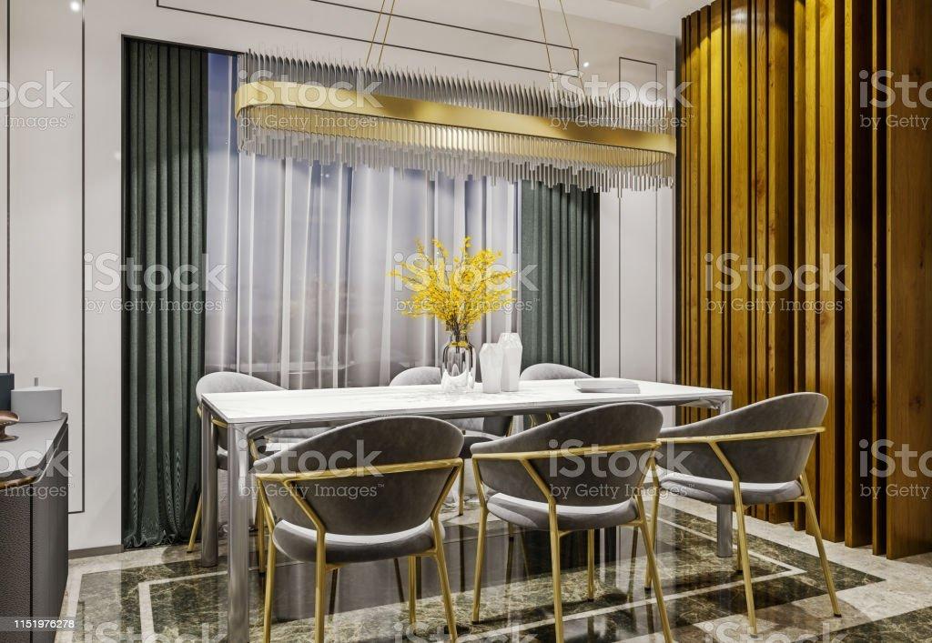 Moderno Diseño Interior De Oro Gris Comedor Con Consola ...
