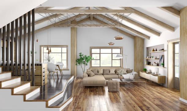 modern inredningsdesign av hus, kök, vardagsrum med soffa, trappa 3d rendering - golv bildbanksfoton och bilder