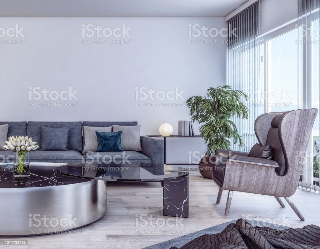 Modern Interieur Woonkamer : Modern interieur van italiaanse stijl woonkamer stockfoto en meer