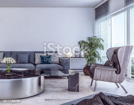 istock Modern interior design of Italian style living room 1011733758