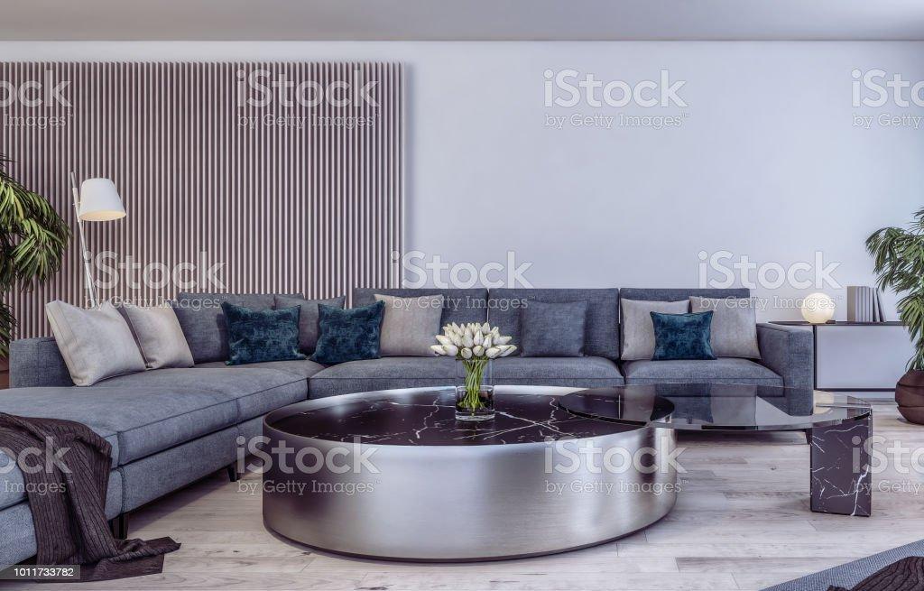 Modern Interior Design Of Italian Style Living Room Stock ...