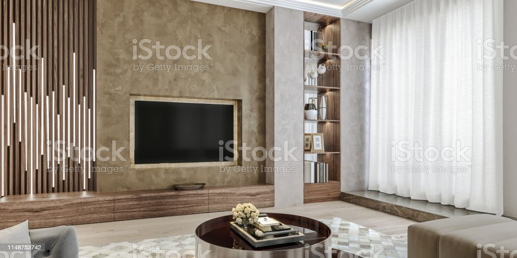 Modern Interior Design Of Living Room Angled Close Up View Of Tv Wall With Book Shelves Stucco Plaster Wooden Flooring 3d Rendering Stock Photo Download Image Now Istock