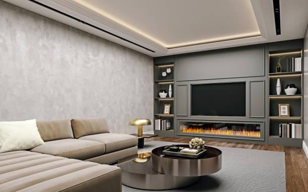 diseño interior moderno de la sala de estar en el sótano, vista de cerca en ángulo de la pared de televisión con estantes de libros, yeso de estuco, suelo de madera, renderizado 3d - basement fotografías e imágenes de stock