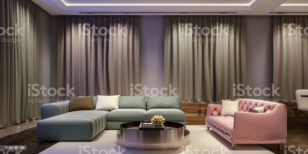 Modern interior design of living room, night scene with contrasting...