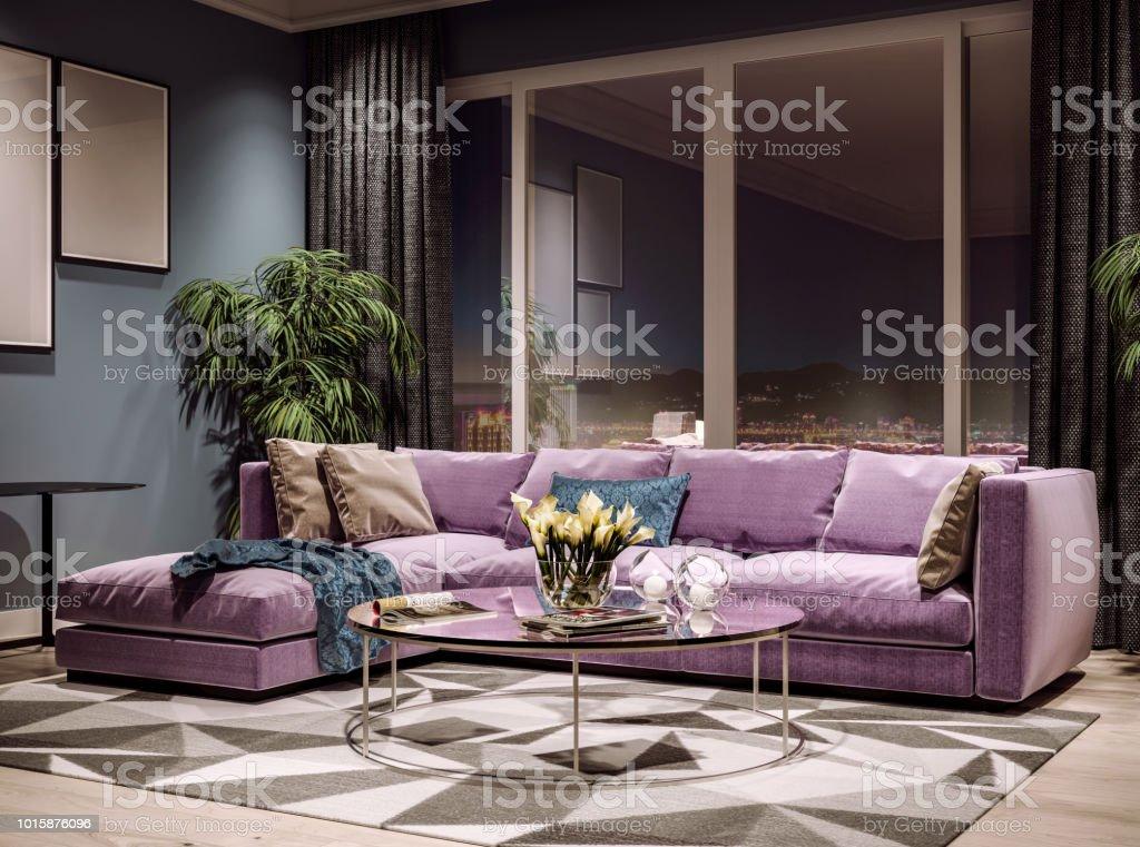Modern interior design of living room, Taiwan, Taipei city skyline,...