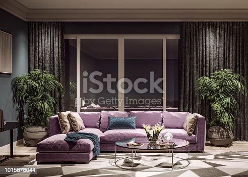 istock Modern interior design of living room, Taiwan, Taipei city skyline 1015878044