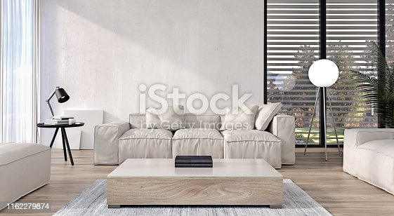 istock Modern interior design of living room with italian style furniture and big sliding doors and windows, garden and trees in background, 3d rendering 1162279874