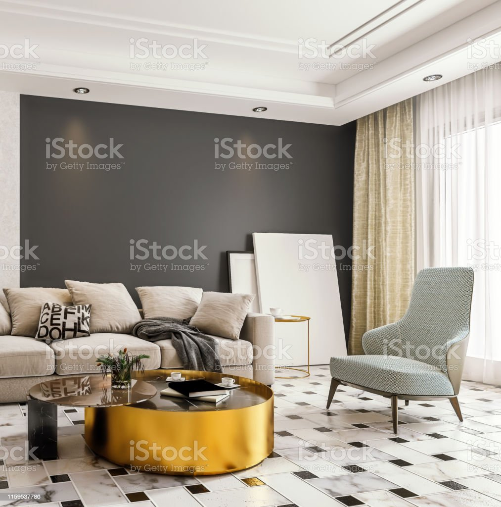 Modern Interior Design Of Living Room With Marble Flooring And Large Glass Door With Terrace Dropped Suspended Ceiling 3d Rendering Stock Photo Download Image Now Istock