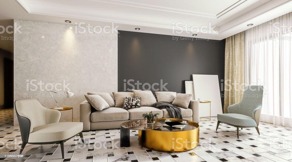 Diseño Interior Moderno De La Sala De Estar Con Suelo De