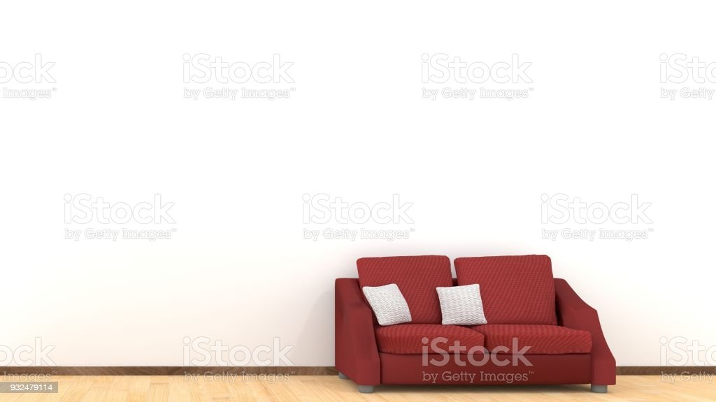 Modern Interior Design Of Living Room With Red Sofa On Wooden Floor White Cushions Elements Home And Living Concept Lifestyle Theme 3d Illustration Rendering Stock Photo Download Image Now Istock