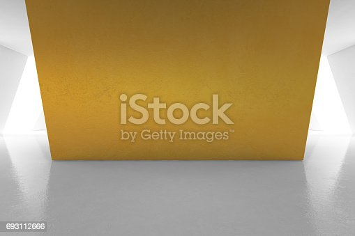 istock Modern interior design of luxury showroom with empty white floor and gold wall background 693112666