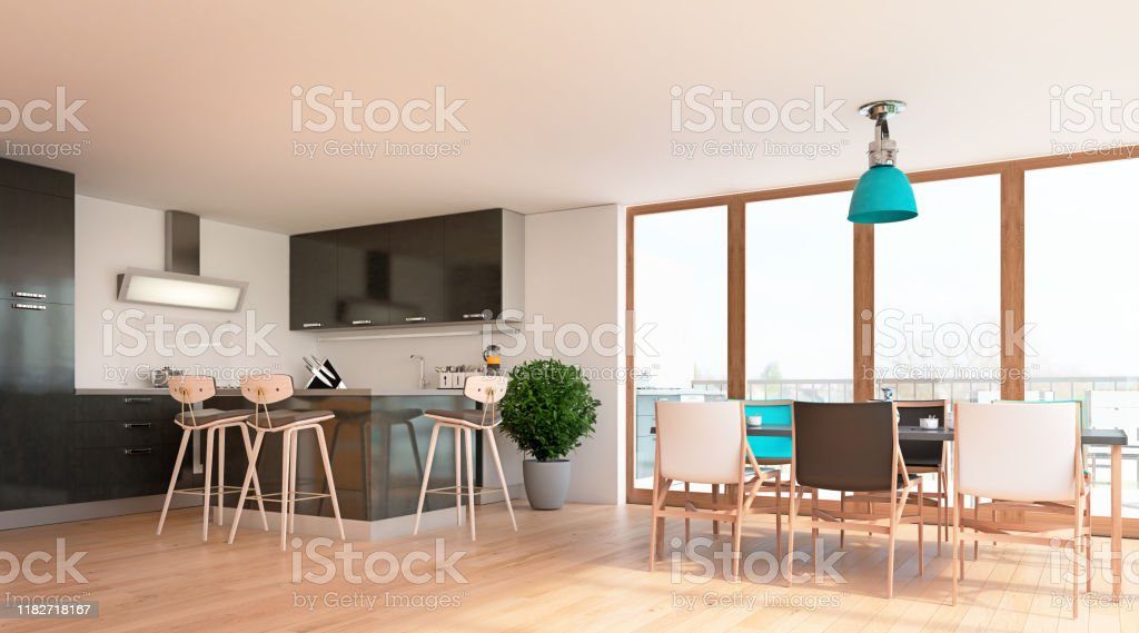 Modern Interior Design Of Open Kitchen And Dining Room With Big Windows And Terrace 3d Render 3d Illustration Stock Photo Download Image Now Istock