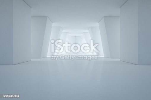 692146256 istock photo Modern interior design of showroom with empty floor and white wall background 683438364