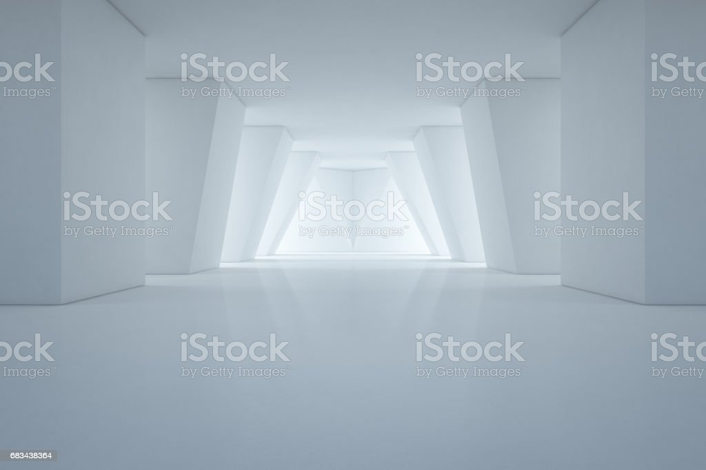 Modern interior design of showroom with empty floor and white wall background stock photo