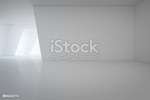 692146256 istock photo Modern interior design of showroom with empty floor and white wall background 684044214
