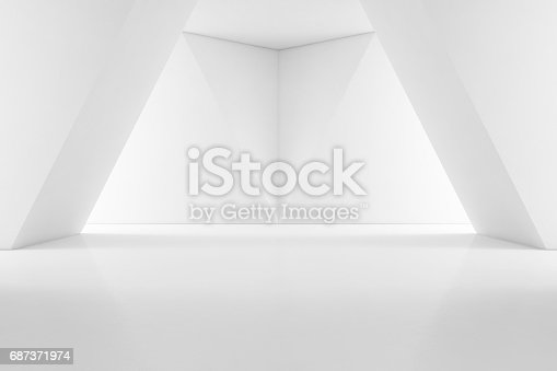 687371974 istock photo Modern interior design of showroom with empty floor and white wall background 687371974