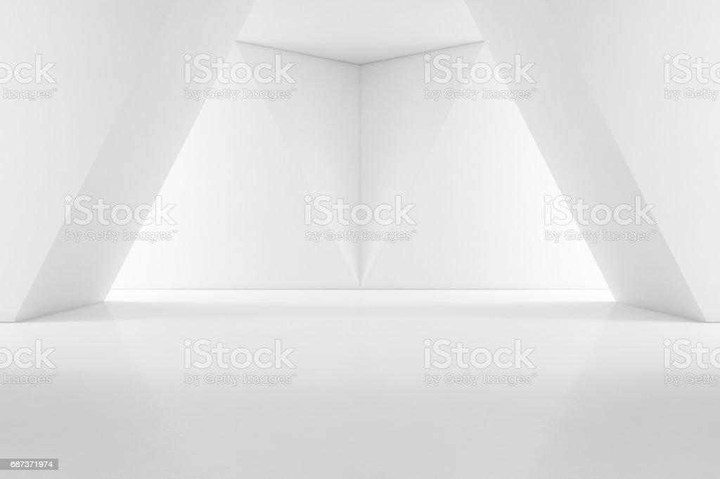 Moderno diseño de interiores de sala de exposición piso vacío y fondo de pared blanca - foto de stock